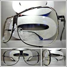CLASSIC VINTAGE RETRO Style Clear Lens EYE GLASSES Black & Silver Fashion Frame