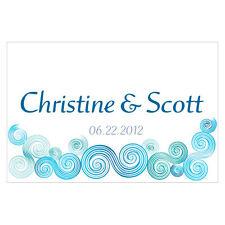 24pk Personalized Sea Breeze Beach Theme Large Rectangular Tags Wedding Favors