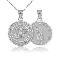 Fine Sterling Silver US Marine Reversible St. Michael Pendant Necklace