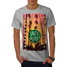 Wellcoda Santa Monica City Holiday Mens T-shirt, Los Graphic Design Printed Tee