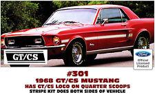 301 1968 MUSTANG GT/CS - CALIFORNIA SPECIAL SIDE & TRUNK STRIPE KIT - LICENSED