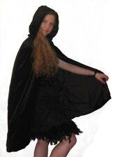 Velvet Hooded Mid Length Cloak Halloween Fancy Dress Accessory (Various Colours)