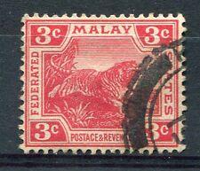 MALAISIE - 1906-34, timbre 3c rouge, TIGRE, oblitéré