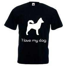 T-shirt  corta bianca o nera donna uomo scritta i love my dog cane animale