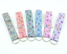 Peacock Print Wristlet Fabric Lanyard Key Fob Key Chain for ID Badge Holder