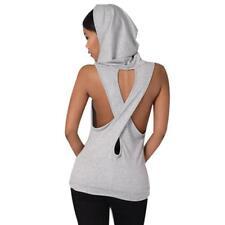 Women Sexy Tank Tops Hooded Back Cross Hollow Sleeveless Vest