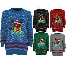 Women's Aztec XMAS Reindeer Rudolf Polka Dot Ladies Knitted Christmas Jumper