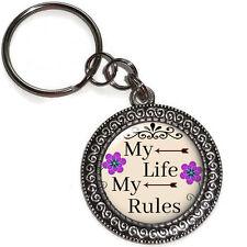 Key Ring MY LIFE MY RULES Inspirational Quote Purse Charm Key Chain Handmade USA