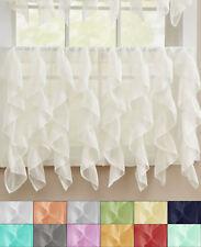 "Sheer Voile Vertical Ruffle Window Kitchen Curtain 24"" Tier Pair"