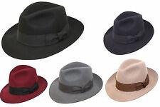 Unisexe Hand Made Fedora Chapeau Feutre Avec Plus Large Bordure 100% Laine
