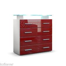 Cassettiera credenza moderna madia bianca mobile soggiorno ufficio con luci led