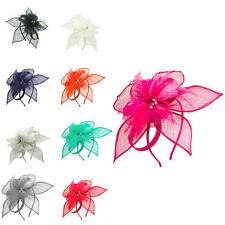 Ladies Women Wedding Sinamay Feather Flower Headband Hairclip Hat Fascinator UK