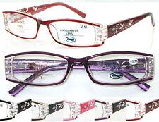 L441 Ladies' Super Pretty Reading Glasses/Diamante/Fancy Laser Arm/Spring Hinges
