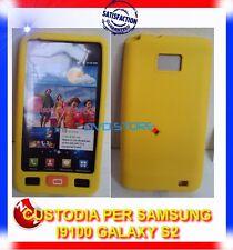 Custodia Silicone GIALLA+TASTO HOME+Pellicola per Samsung I9100 galaxy s2 I9105