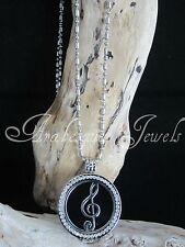 Original Mi Milano necklace/pendant Set. agudos clef/music/onyx coin/moneda ajmm