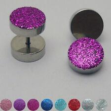 1 Paar Glitter Edelstahl Fakeplugs Fake Plug metallic Ohrstecker Ohrring Glitzer