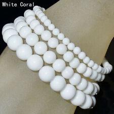 Handmade Natural 4mm 6mm 8mm 10mm White Coral Gemstone Beads Stretch Bracelet