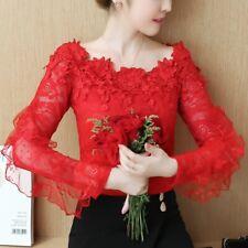 Women Lace Shirt Mesh Chiffon Tops Blouse Floral Pullover Long Sleeve Ruffle