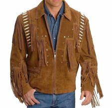 Hecho a Mano Cuero Gamuza occidental estilo vaquero con flecos de desgaste Abrigo Chaqueta Cuentas Usa