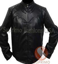 The Dark Knight Rises Batman Begins Costume Stylish Biker Black Leather Jacket