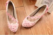 Zapatos de salón mujer bailarina blanco rosa encaje evento 3.5, 4.5 9356
