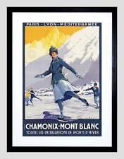 TRAVEL CHAMONIX MONT BLANC ALPINE RESORT WINTER SPORT SKATING ART PRINT B12X6366