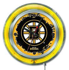 Boston Bruins Clock w/ Double Neon Ring