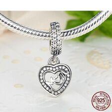 925 Plata Esterlina Mum Corazón Piedra día de las madres pulsera con dijes Europea se ajusta