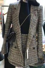 Autumn Grid Women Lapel Warm Slim Blazers A-line Business Dress Suits Coat+Skirt