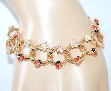 BRACCIALE ORO donna catena dorato fiori coccinelle portafortuna bracelet H1