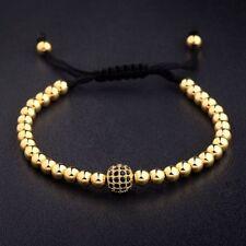 24K Gold Plated Micro Pave New Charm Black CZ Bead Braiding Macrame Men Bracelet