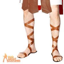 Adult Roman Sandals Mens Fancy Dress Costume Greek Gladiator Footwear Accessory