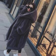 Ladies Faux Rabbit Fur Jacket Winter Hooded Thicken Warm Coat Full Length Jacket