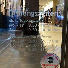 WD Öffnungszeiten Schaufensterbeschriftung Aufkleber Laden Geschäft Werbung NEU