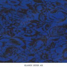 Kalbsfell Fantasie Flower Design Bastelfell Blau Echtes Fell Leder Stück 18