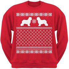 Old English Sheepdog Red Adult Ugly Christmas Sweater Crew Neck Sweatshirt
