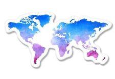 World Map Watercolor Car Vinyl Sticker - SELECT SIZE