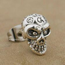 925 Sterling Silver Gothic Skull Mens Biker Stud Earring Punk Jewellery 8R022B