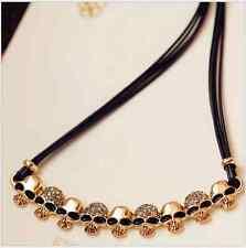 Sparkling Unisex Punk Skull Cross Pendant Gold CZ Leather Chain Necklace