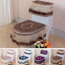 Home Toilet Seat Cover Closestool Lid Tank Mat Set Lace Pad Cushion Warmer 3PCS