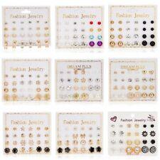 Elegant 12Pair Set Geometric Earrings Pearl Ear Stud Womens Wedding Jewellery