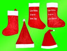 Nikolaus -Weihnachtsmann Mütze-Hut Nikolausstiefel Beutel Sack Weihnachtsstiefel