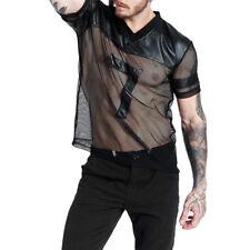 Sexy Men's See Through Club Wear Short Sleeve Mesh Top T-Shirt Undershirt S-XL