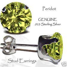 Men's or Lady's Peridot Stud Earrings, Sterling Silver - AUGUST Birthstone
