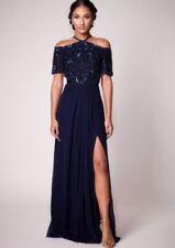 Virgos Lounge Davina Drop Cold Shoulder Train Embellish Party Maxi Dress 8 - 14