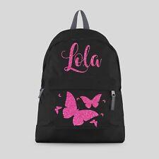 Personalised Kids Girls Butterfly Glitter Backpack - Any Name School Bag #CBPBF