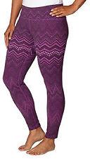 Tuff Athletics Ladies Printed Active Yoga Leggings Magenta Size Large