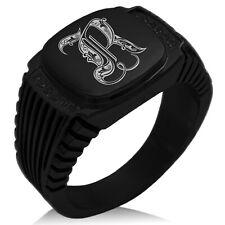 Stainless Steel Royal Monogram Letter R Striped CZ Biker Style Signet Ring