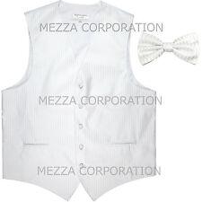 New Men's Tuxedo Vest Waistcoat Vertical Stripes Bowtie prom wedding party White