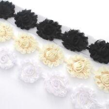 10 Shabby Chiffon rose flower trim White/ivory/black for millinery, hair, crafts